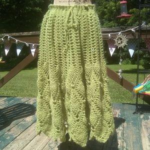 Crochet handmade Bohemian maxi skirt medium